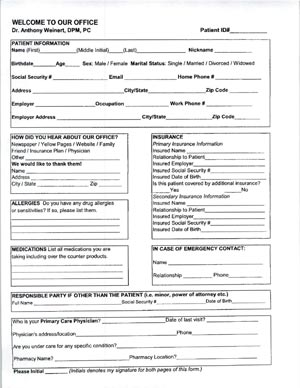 download new patient form warren office